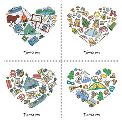 Set with stylized heart of hand drawn tourism and camping symbols