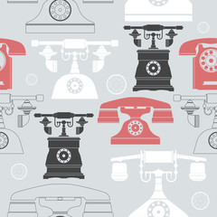 Colorful seamless pattern with vintage phones