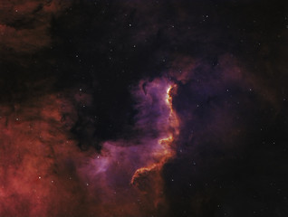 The Cygnus Wall, part of the North America Nebula in the Cygnus constellation. Image taken with ATIK383l+ and SkyWatcher ED80