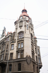 Facade of old house with bay windows