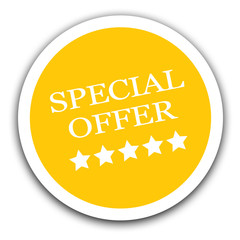 Special offer sale sign yellow sticker