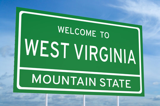 Welcome to West Virginia state road sign, 3D rendering