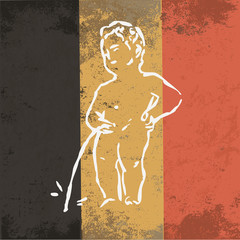 Grunge styled flag of Belgium. Damaged grunge texture of the national flag. Vintage element. Dirty patriotic country emblem. Retro style. Vector design. The Manneken Pis symbol of Brussels