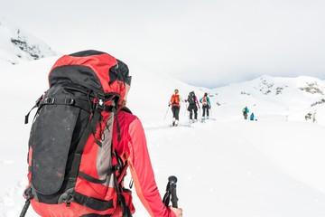 Ski tourer at a group skiers.