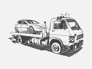 Painted vector tow truck on a white background. Vector art.