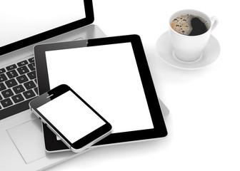 Laptop, phone, tablet pc and coffee.