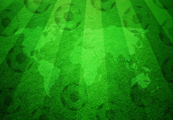 Football grass field with world map and soccer balls pattern.