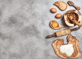 Eggs, flour, sugar, almond. Ingredients dough preparation