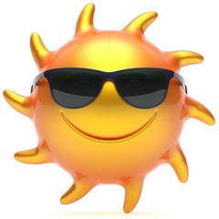Smile sun sunglasses cheerful summer face smiley cartoon ball emoticon happy yellow orange sunny heat icon. Smiling laughing character vacation holiday chilling sunbathing sunbeam avatar. 3d render