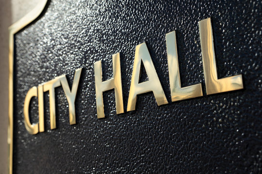 City Hall sign close up