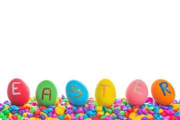 Easter written on eggs