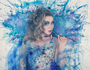 A watercolor portrait of an artist woman