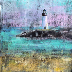 Abstract Lighthouse - Abstract painting of a beach with lighthouse, made with acrylic paint on black card stock.