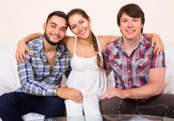 Three friends indoors
