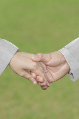 Groom's Hand Holding Bride's Hand With White Dress&Suit Love, Se
