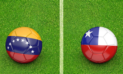 Qualifier preliminary football match between country teams Venezuela and Chile