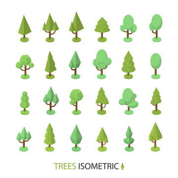 Isometric vector color tree set to create a landscape