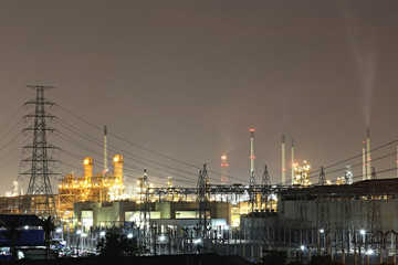 Oil refinery in the evening,photography on twilight style.