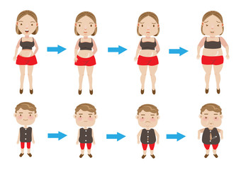 weight gain women and boys making incremental weight gain. vector illustration.