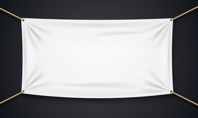 Textile banner with rope isolated on black background
