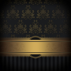 Decorative background with gold border and patterns.