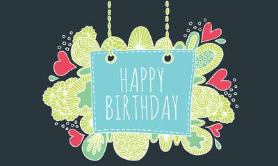 Happy birthday doodle vector lineart color