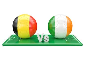 Belgium / Eire soccer game over soccer field