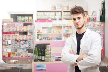 Pharmacist in front of the work desk