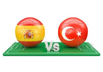 Spain / Turkey soccer game over soccer field