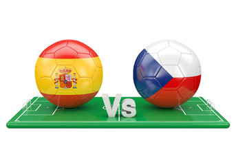 Spain / Czech republic soccer game over soccer field