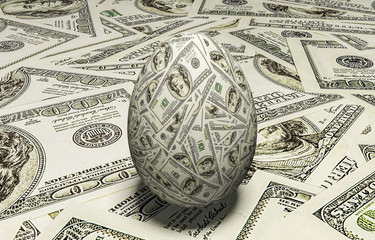 Easter eggs with a dollar banknote