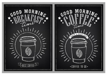 Positive vintage poster with cups of coffee. Title Good Morning. Breakfast time