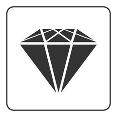 Diamond icon. Crystal sign. Brilliant stone. Black silhouette isolated on white background. Flat fashion design element. Symbol gift, jewel, gem or royal, rich, expensive, success. Vector Illustration