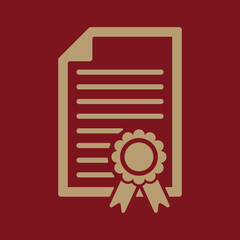 The diploma icon. Certificate symbol. Flat