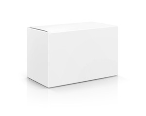 blank packaging white cardboard box isolated on white background