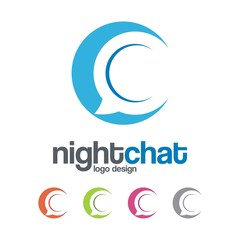 Abstract Bubble Chat Logo, Night Chat Illustration Logo Vector