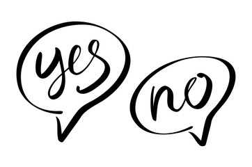 Yes No speech bubbles vector lettering
