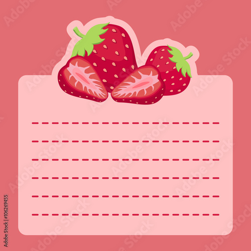 Illustration Of Cute Strawberry Slice Icon In Pink Background And Empty Notes Space For Writing Message