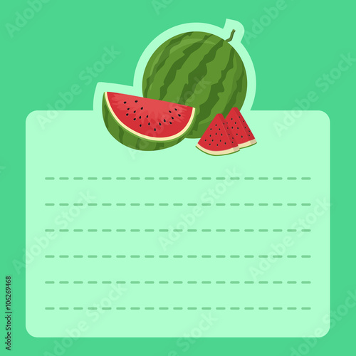 Illustration Of Cute Happy Watermelon Slice Mascot In Green Background And Empty Notes Space For Writing