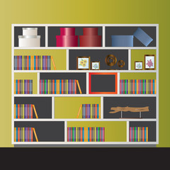 Bookshelf elevation for interior,vector illustration