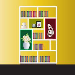 Bookshelf elevation for interior, vector illustration