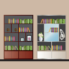 Bookshelf elevation for interior , vector illustration
