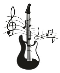 Electric guitar with notes.