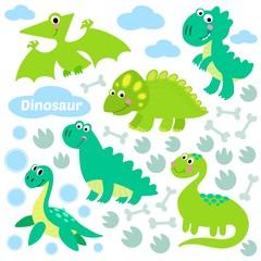 Dinosaur set vector illustration.
