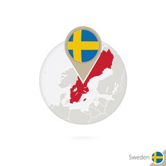 Sweden map and flag in circle. Map of Sweden, Sweden flag pin.