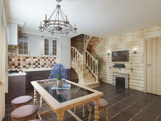Kitchen and dining area in a log interior staircase to the secon