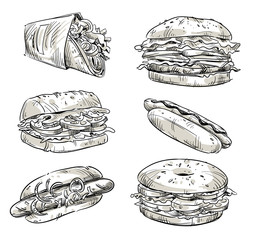 Sandwiches. Fast food. Snacks. Vector sketch.