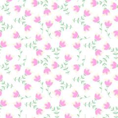 Cute vector seamless pattern of beautifull flowers.