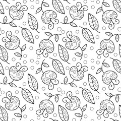Seamless vector flower pattern. Black and white background.