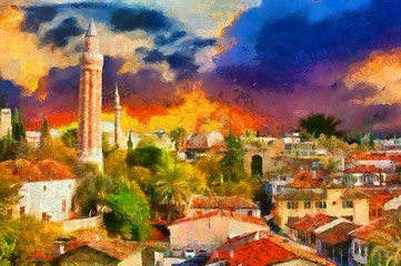 Image in painting style of a View of Kaleici Antalya Turkey